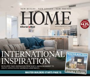Photograher captures cover shot for The Courier Mail  HOME magazine wit a n image of an Internationally Inspired Complex at Sherwood